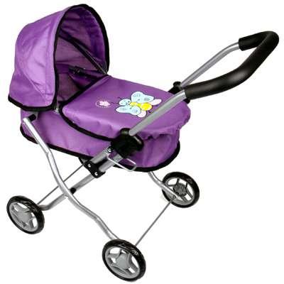 Kočárek pro panenky MINI - hluboký , fialový s motýlkem