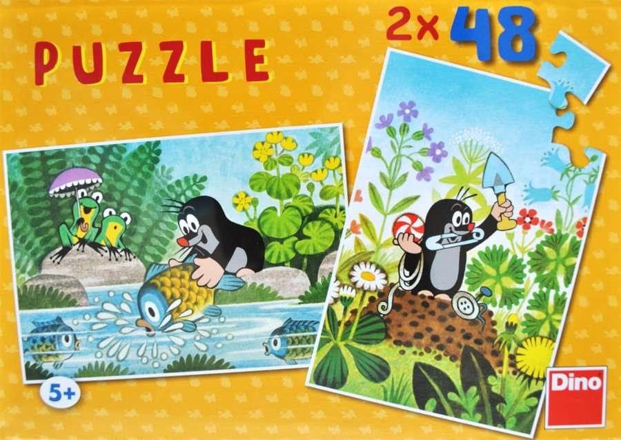 Dino - Puzzle 2x48 dílků Krteček