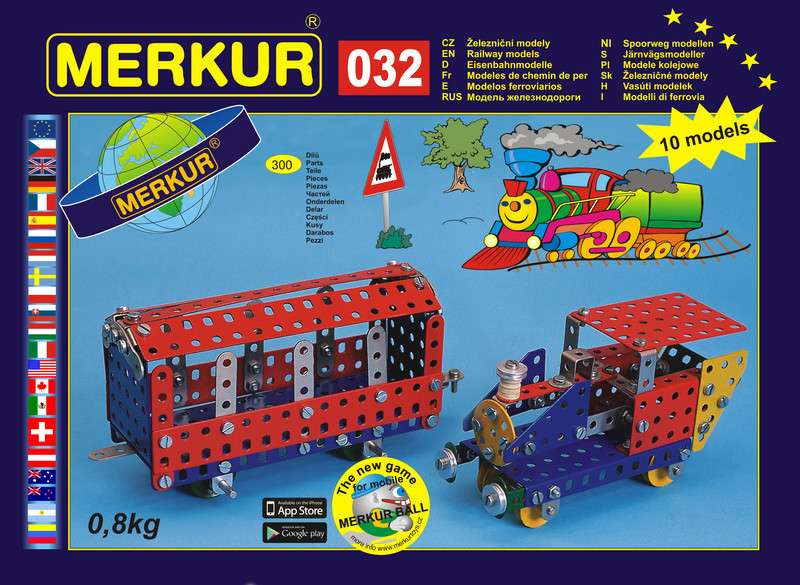 Česká kovová stavebnice Merkur 032 Železniční modely