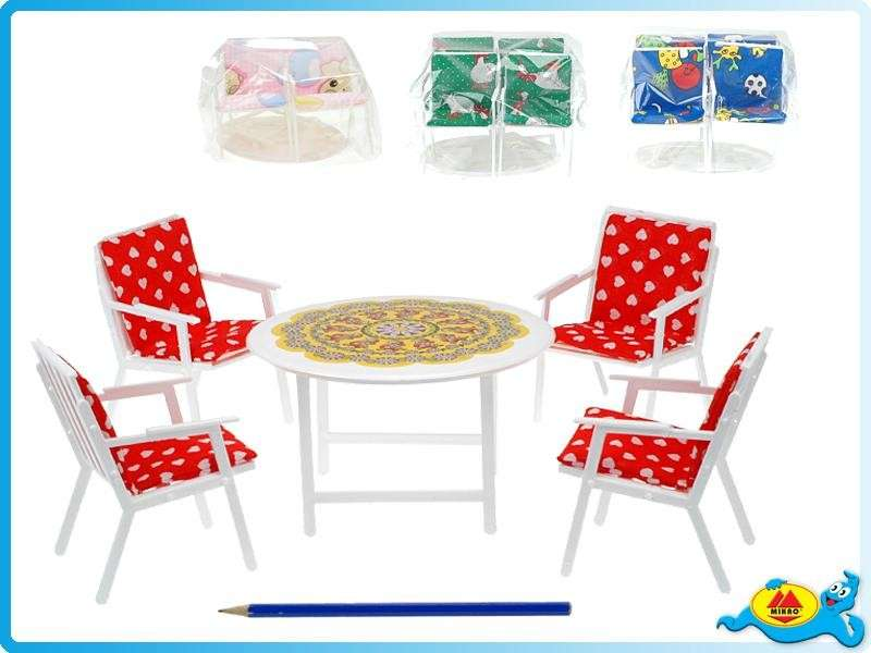 Nábytek pro panenky stůl + židle