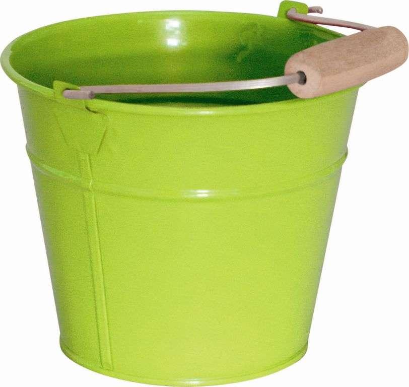 Zahradní kbelík zelený plechový