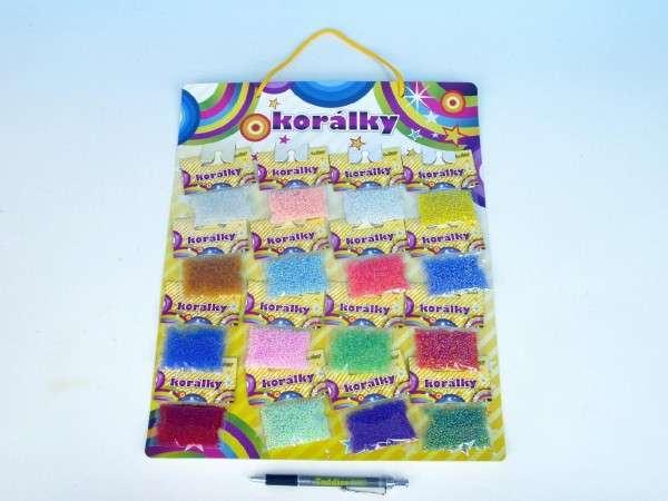 Korálky 16ks sáčků, barev na kartě