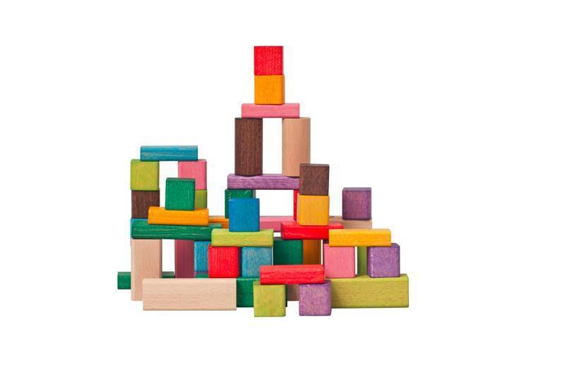 Kostky barevné 50 dílů