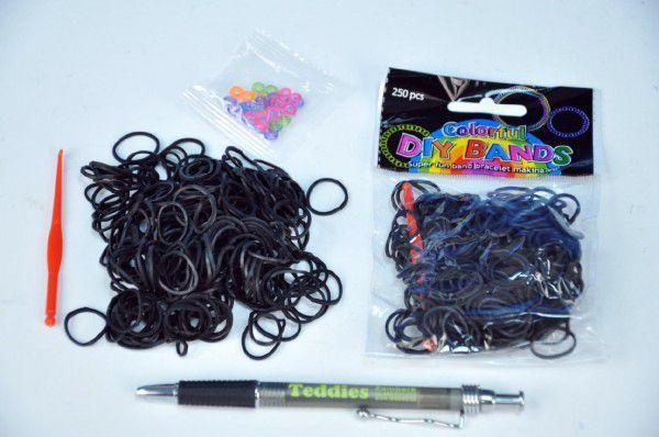 Udělej si náramek - gumičky 250ks černé s doplňky