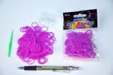 Udělej si náramek - gumičky 250ks fialové s doplňky