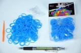 Udělej si náramek - gumičky 250ks světle modré s doplňky