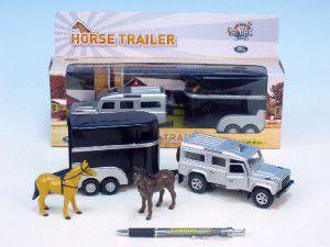Auto Land Rover Defender kov 14cm s přívěsem pro koně 11cm