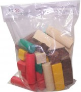 Kostky dřevěné barevné 40ks v sáčku