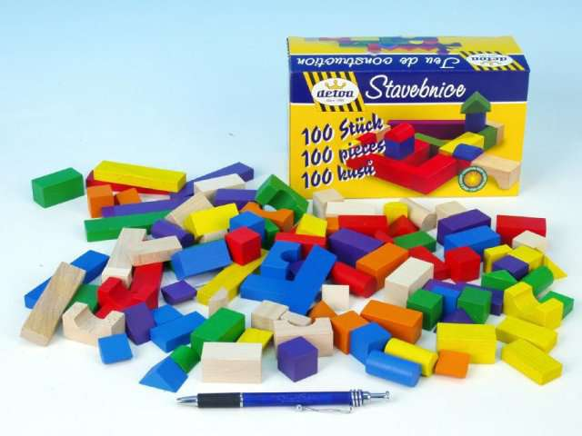 Detoa - Stavební kostky dřevěné 100 ks v krabici