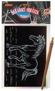 Škrábací obrázek hologram kůň