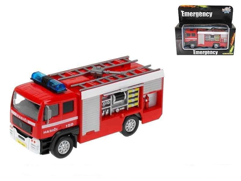 KIDS GLOBE Auto hasičské kovové 14 cm se světlem a zvukem