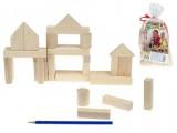 Kostky dřevěné NATURAL 32 kusů