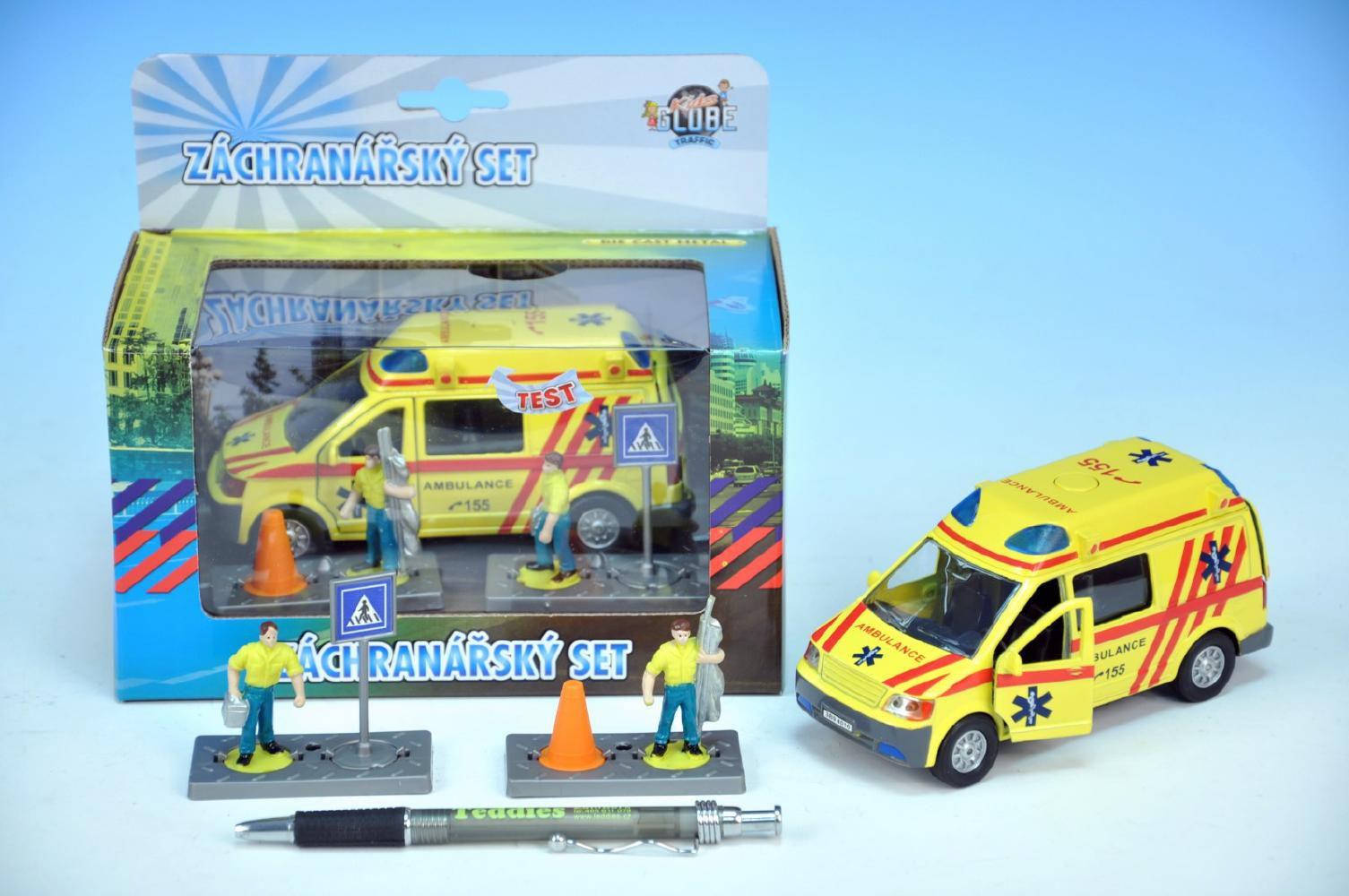 Auto ambulance kov 13cm s postavičkami na zpětný chod na baterie se světlem se zvukem v krabičce