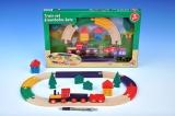 Vlak s kolejemi dřevo 19ks v krabici