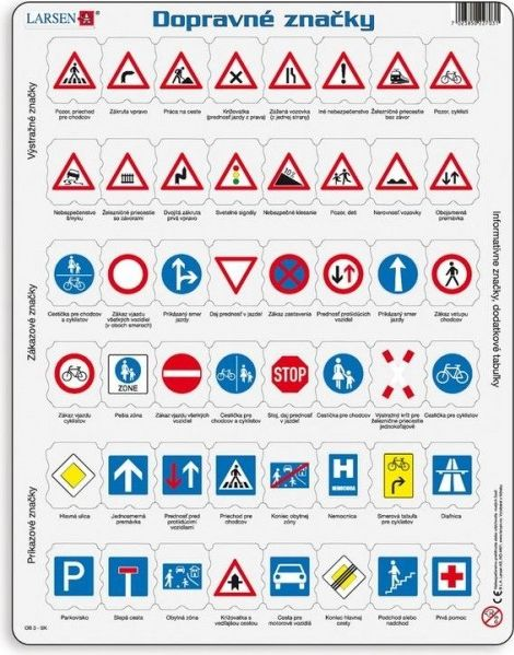 LARSEN Vzdělávací puzzle Dopravní značky 48 dílků