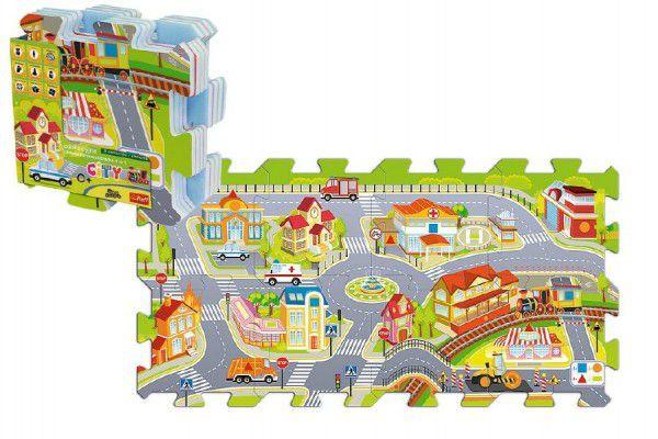 Pěnové puzzle Město 32x32x1cm 8ks v sáčku