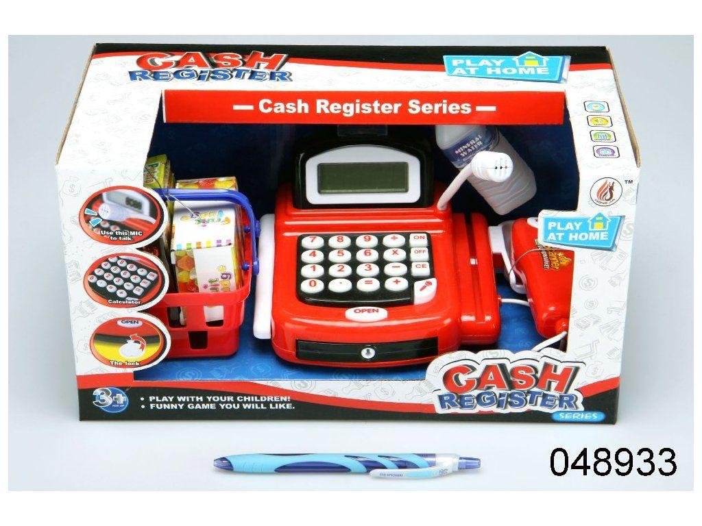 Pokladna s kalkulačkou a skenerem červená