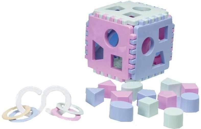 Baby set - vkládací kostka + chrastítko kroužky