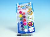 Barvy na textil - 12 ks + štětec