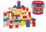 Stavebnice kostky barevné/natur s prostrkávacím víkem, 100 dílů