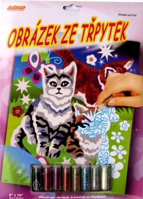 Obrázek ze třpytek - kočky