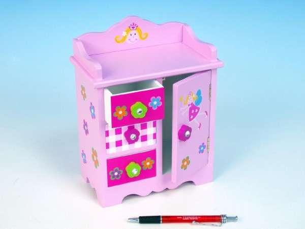 Skříňka růžová 3 zásuvky 1dveře