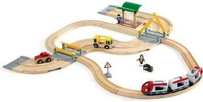 Vláčkodráha s osobním vlakem - dřevěná stavebnice