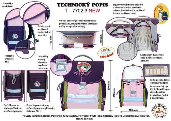 Technický popis školní aktovky
