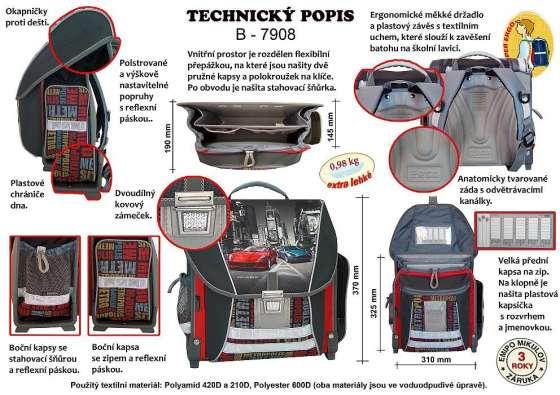 Technický popis školního batohu